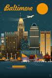 Baltimore  Maryland - Retro Skyline