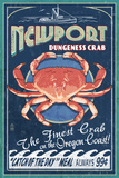 Newport  Oregon - Dungeness Crab Vintage Sign