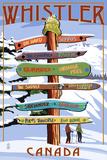 Ski Runs Signpost - Whistler  Canada