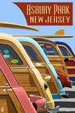 Asbury Park  New Jersey - Woodies Lined Up