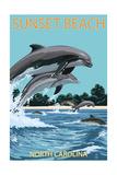 Sunset Beach - Calabash  North Carolina - Dolphins Jumping