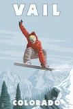 Vail  Colorado - Snowboarder Jumping