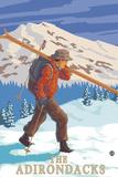 The Adirondacks  New York State - Skier Carrying Skis