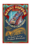 Santa Cruz  California - Giant Dipper Roller Coaster Vintage Sign