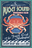 Puget Sound  Washington - Dungeness Crab Vintage Sign