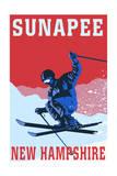 Sunapee  New Hampshire - Colorblocked Skier