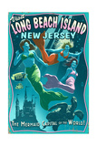 Long Beach Island  New Jersey - Mermaids Vintage Sign