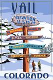 Vail  Colorado - Ski Signpost