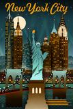 New York City  New York - Retro Skyline