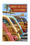 Manhattan Beach  California - Woodies Lined Up