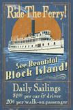 Block Island  Rhode Island - Ferry Ride Vintage Sign