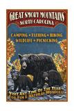 Great Smoky Mountains  North Carolina - Black Bears Vintage Sign