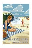 Bridgeport  Connecticut - Woman on the Beach