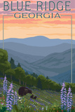 Blue Ridge Georgia - Bear Family and Spring Flowers