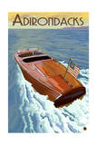 The Adirondacks - Wooden Boat on Lake