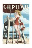 Captiva  Florida - Lifeguard Pinup Girl