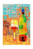 Wine Bottle and Glass Geometric