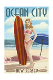 Ocean City  New Jersey - Surfing Pinup Girl