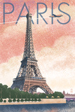 Paris  France - Eiffel Tower and River - Lithograph Style