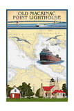 Mackinac  Michigan - Old Mackinac Point Lighthouse - Nautical Chart