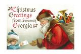 Christmas Greetings from Savannah  Georgia - Santa Getting Letter