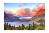 Glacier National Park  Montana - St Mary Lake and Sunset