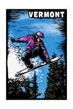 Vermont - Snowboarder - Scratchboard