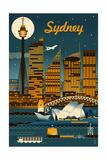 Sydney  Australia - Retro Skyline