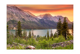Glacier National Park  Montana - Lake and Peaks at Sunset