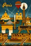 Paris  France - Retro Skyline