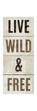 Wood Sign Live Wild and Free on White Panel Giclée premium par Michael Mullan
