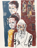 Two Boys and a Rabbi from People in Israel Édition limitée par Moshe Gat