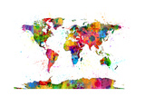 Map of the World Map Watercolor Reproduction d'art par Michael Tompsett
