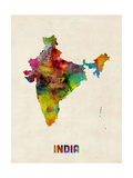 India Watercolor Map Reproduction d'art par Michael Tompsett