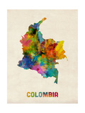 Colombia Watercolor Map Reproduction d'art par Michael Tompsett