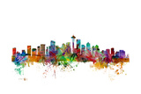 Seattle Washington Skyline Giclée premium par Michael Tompsett