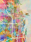 Chicago City Street Map Reproduction d'art par Michael Tompsett