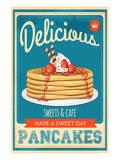 Vintage Pancakes Sign Reproduction d'art