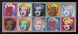 Les 10 Marilyn, 1967 Reproduction encadrée par Andy Warhol