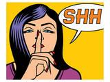 Woman Signaling Silence PopArt