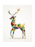Trendy Abstract Christmas Reindeer