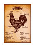 Poster with A Detailed Diagram of Butchering Rooster Reproduction d'art par 111chemodan111