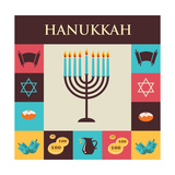 Vector Illustrations of Famous Symbols for the Jewish Holiday Hanukkah