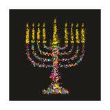 Grunge Stylized Colorful Chanukiah (Menorah) on Black Background - Holiday Vector Illustration