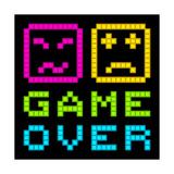 8-Bit Pixel-Art Retro Arcade Game over Message Eps8 Vector