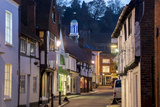 Traditional Street in Godalming is Lit at Dusk