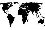 World Map - Black On White Tableau sur toile par Jacques70