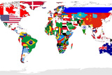 Map Of World With Flags In Relevant Countries, Isolated On White Background Tableau sur toile par Speedfighter