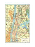 Map of Manhattan and Bronx  New York