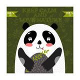 Keep Calm and Love NatureVector Concept Cute Panda Bear in Vector